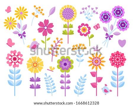 Cartoon flower stickers. Cute butterflies bugs and birds kid clip art, summer garden pretty retro set.  beautiful floral child scrapbook or print icons
