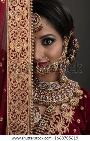 Indian woman with happy expressions and wearing the bridal wear and bridal jewelry #1668705619