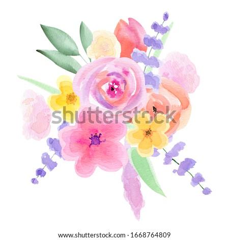 Watercolor Floral Wedding Arrangemets. Floral Clipart. Hand-painted Pink, purple tender Flower card. Floral Spring Frames. Romantic Bouquets. Cute Easter. DIY