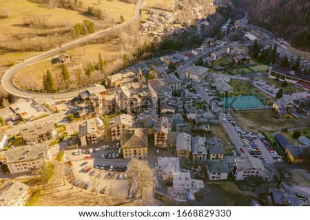 Aerial view of Pre Saint Didier town near Courmayeur and French border, in Aosta valley, Italy. #1668829330