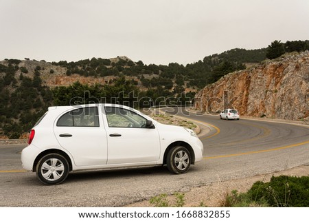 Crete, Greece - May 7, 2018: open section of a mountain road. #1668832855