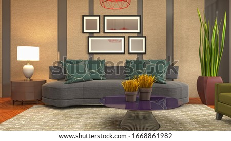 Interior of the living room. 3D illustration. #1668861982