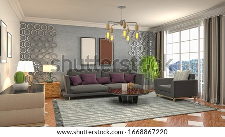 Interior of the living room. 3D illustration. #1668867220