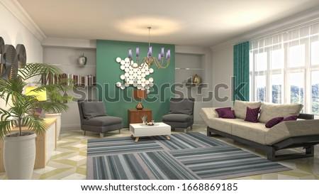 Interior of the living room. 3D illustration. #1668869185