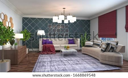 Interior of the living room. 3D illustration. #1668869548
