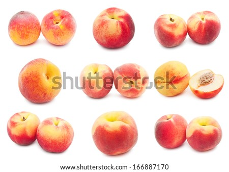 Collection of fresh sweet peaches isolated on white background #166887170