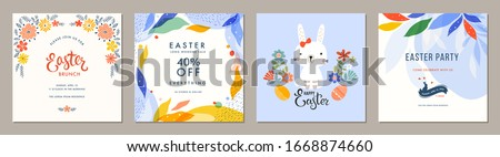 Trendy Easter square templates. Suitable for social media posts, mobile apps, cards, invitations, banners design and web/internet ads. Vector illustration.  #1668874660