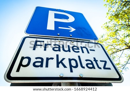 parking sign only for women in germany - translation: parking only for women