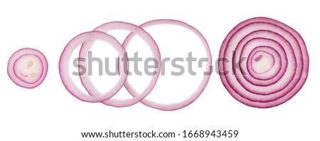 red onion slices isolated on white background cutout, top view Royalty-Free Stock Photo #1668943459