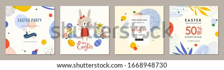 Trendy Easter square abstract templates. Suitable for social media posts, mobile apps, cards, invitations, banners design and web/internet ads. Vector illustration. #1668948730