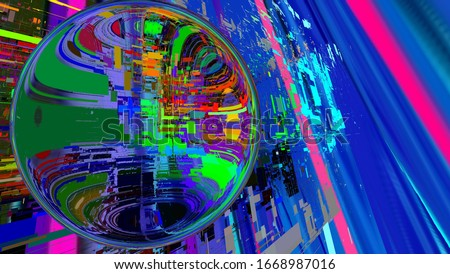 3D illustration. Digital effects. Multicolor abstract background. Colorful pattern. Creative graphic design for poster, brochure, flyer and card. Unique wallpaper. Backdrop for web and fabric. #1668987016