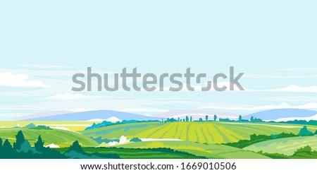 Green agricultural fields, hills and meadows, summer countryside with green hills, rural landscape, agricultural land with crops and vineyards in simple colors with blue sky Royalty-Free Stock Photo #1669010506