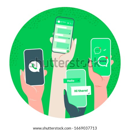 Whatsapp chat screen. Smart phone conversation in messenger concept. app interface template. Hand hold gadget with social network, voice message, speech bubble, text UI. Isolated vector illustration #1669037713