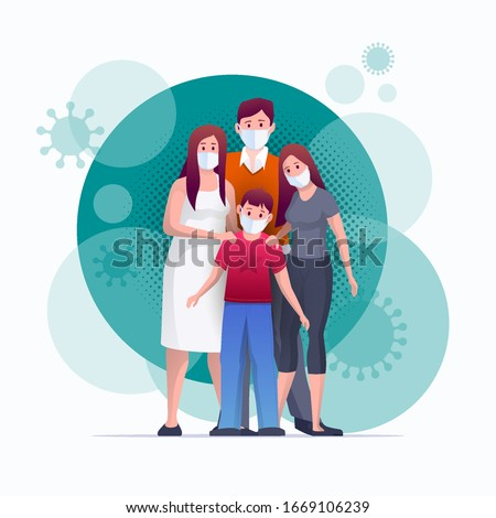 Family is protecting their children and them from virus COVID-19 and are wearing masks and stop the spread of viruses. Coronavirus quarantine. Vector illustration #1669106239