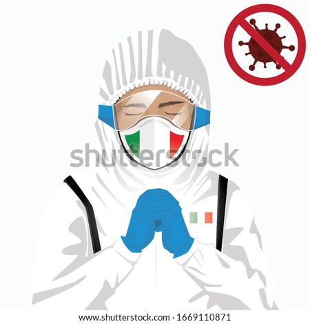 Covid-19 or Coronavirus concept. Italian medical staff wearing mask in protective clothing and praying for against Covid-19 virus outbreak in Italy. Itlian man and Italy flag. Epidemic corona virus #1669110871