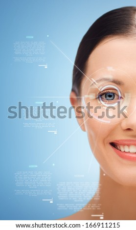 beauty, vision and health concept - smiling young woman #166911215