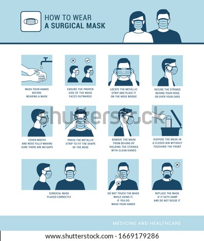 How to wear a surgical mask properly, virus outbreak prevention and pollution protection Royalty-Free Stock Photo #1669179286