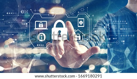 Security theme with a man on blurred city background Royalty-Free Stock Photo #1669180291