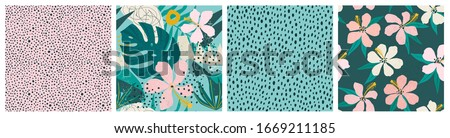 Collage contemporary floral and polka dot shapes seamless pattern set. Modern exotic design for paper, cover, fabric, interior decor and other users. #1669211185