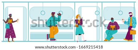 People in subway train - flat banner with cartoon men and women #1669215418