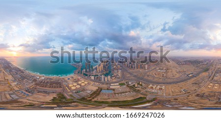 360 panorama by 180 degrees angle seamless panorama of aerial view of Dubai Downtown skyline and highway, United Arab Emirates or UAE. Financial district in urban city. Skyscraper buildings at sunset. #1669247026