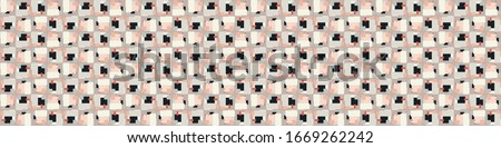 Seamless vector in geometric polygon shape border pattern. Mid century modern woven linen texture style banner background. Vintage 1950's warm color decorative edge. Geo abstract graphic ribbon trim. #1669262242