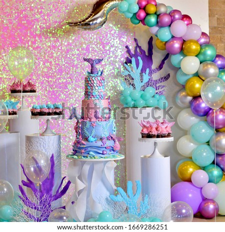 baby girl genuine birthday cake, sea life theme image