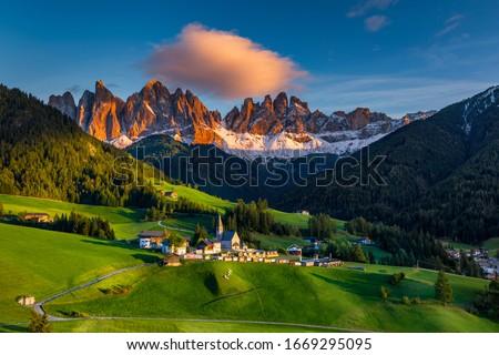 Santa Maddalena (Santa Magdalena) village with magical Dolomites mountains in autumn, Val di Funes valley, Trentino Alto Adige region, South Tyrol, Italy, Europe. Santa Maddalena Village, Italy.  #1669295095