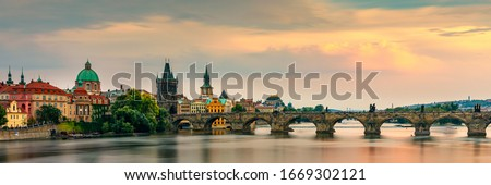 Charles Bridge, Old Town and Old Town Tower of Charles Bridge, Prague, Czech Republic. Prague old town and iconic Charles bridge, Czech Republic. Charles Bridge (Karluv Most) and Old Town Tower. #1669302121