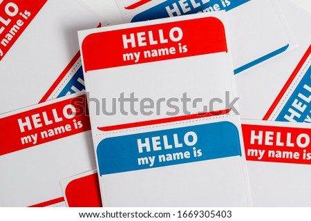 Hello my name is name badge paper aticker Royalty-Free Stock Photo #1669305403