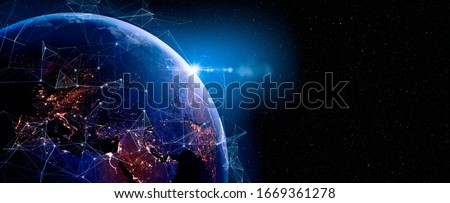 Communication technology for internet business. Global world network and telecommunication on earth and IoT. Elements of this image furnished by NASA #1669361278