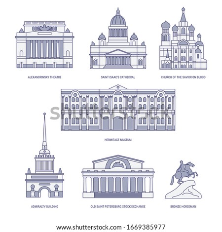 Saint-Petersburg, Russia. St. Isaac's Cathedral, Alexadrinsky theatre, Admiralty building and Church of the Savior on Blood etc. City sights vector icon set in simple line art style #1669385977