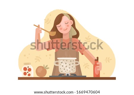 Vector hand drawn illustration in flat style. A girl in an apron is cooking. Casserole on the stove with soup. Kitchen utensils, spices and sauces, ingredients. Homemade food, dinner, cozy atmosphere. #1669470604