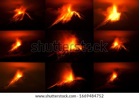 collection of 9 pictures of tungurahua volcano with different patterns of lava flows shot with canon eos 5d mark ii converted from raw small amount of noise visible at full size disaster volcanoe volc