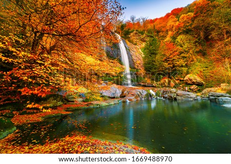 View of the waterfall in autumn. Waterfall in autumn colors. Suuctu Waterfalls, Bursa, Turkey.