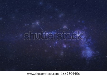 Vulpecula Constellation in outer space. Chanterelle constellation stars with constellation lines Elements of this image were furnished by NASA  Royalty-Free Stock Photo #1669504456