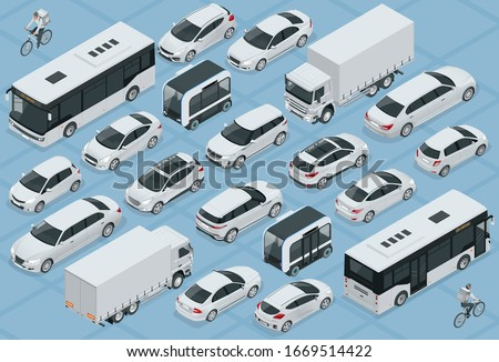 Flat 3d isometric high quality city transport car icon set. Bus, bicycle courier, Sedan, van, cargo truck, off-road, bike, mini and sport cars. Urban public and freight vehihle Royalty-Free Stock Photo #1669514422