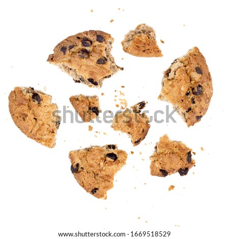 Close up of chocolate chip cookie pieces with crumbs isolated on white background #1669518529