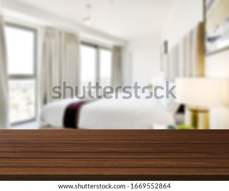 Table Top And Blur Bedroom of The Background #1669552864