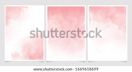pink watercolor wet wash splash 5x7 invitation card background template collection #1669618699