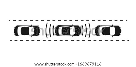 icon of the car with the radar gun a safe distance. Parking sensors on the car. The view from the top. Simple flat design for websites and apps