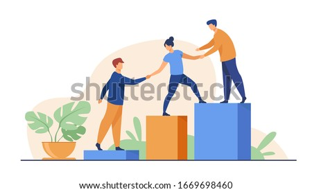 Employees giving hands and helping colleagues to walk upstairs. Team giving support, growing together. Vector illustration for teamwork, mentorship, cooperation concept Royalty-Free Stock Photo #1669698460