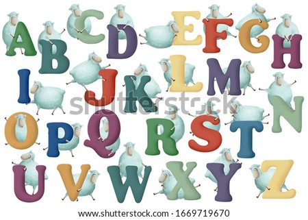 Cute little sheep with letters on white background. Learn alphabet clip art big set on white background