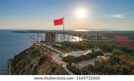 Canakkale Martyrs Memorial is a commemoration to the service of Turkish soldiers who participated at the Battle of Gallipoli, during the First World War Royalty-Free Stock Photo #1669732606