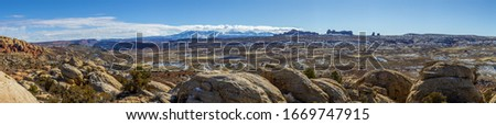 Panoramic picture of Mount Waas from Arches National park in winter #1669747915