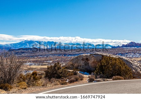 Panoramic picture of Mount Waas from Arches National park in winter #1669747924
