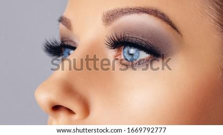 Woman eyes with long eyelashes and smokey eyes make-up. Eyelash extensions, makeup, cosmetics, beauty. Close up Royalty-Free Stock Photo #1669792777
