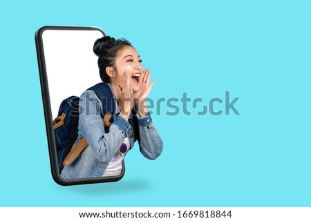Smartphone pop up for advertising.Asian woman travel backpacker shouting open mouth through from screen mobile.Girl looking to aside copy space for present promotions.Digital marketing online cencept. #1669818844