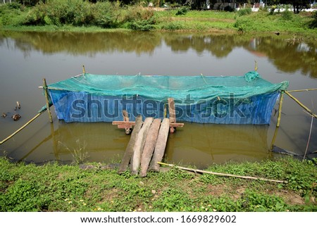 this pic show a nursery cage made from blue nets for fingerling fish in aquaculture pond