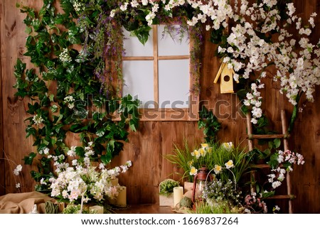 Backdrops for photo studio with spring decor for kids and family photo sessions. Royalty-Free Stock Photo #1669837264